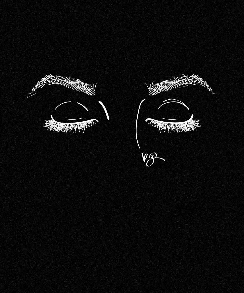 ilustração de olhos fechados da artista @robertacruzz