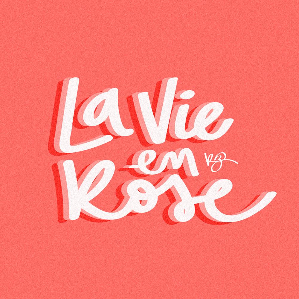 lettering música de edith piaf pela artista @robertacruzz